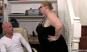 Heavy slutty wife boss with glasses rides his rod