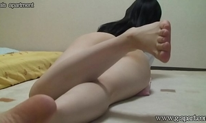 Peeping the japanese horny white wife yoga exercise