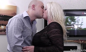 Heavy golden-haired rides his hard meat