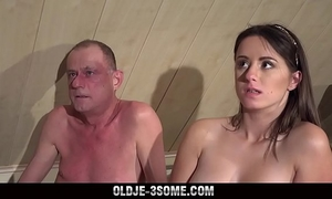 two virgins jump on grandad ramrod and bonks his brains out in three-some sex