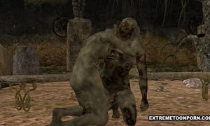 3d zombie acquires drilled hard in a graveyard